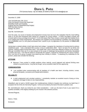 Child Life Intern Cover Letter - internship cover letter