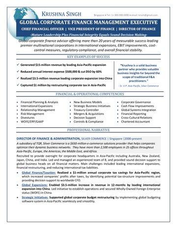 Corporate Finance Executive Resume