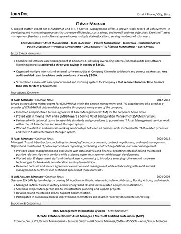 IT Asset Manager Resume