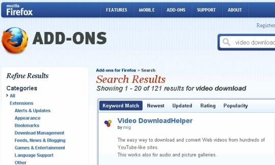 Install Firefox Add On Video DownloadHelper first