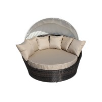 Cabana Round Wicker Outdoor Furniture Rattan Sofa Lounge w ...