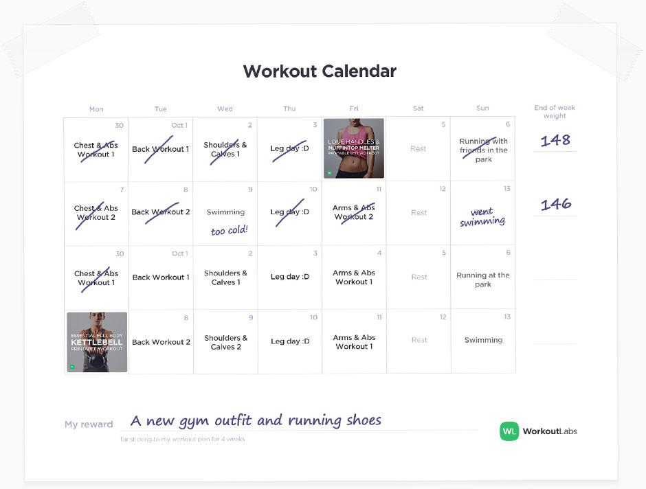 Sample Workout Calendar Workout Schedule Weekly Weight Training - sample training calendar