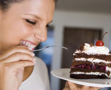 girl eating chocolate pastry