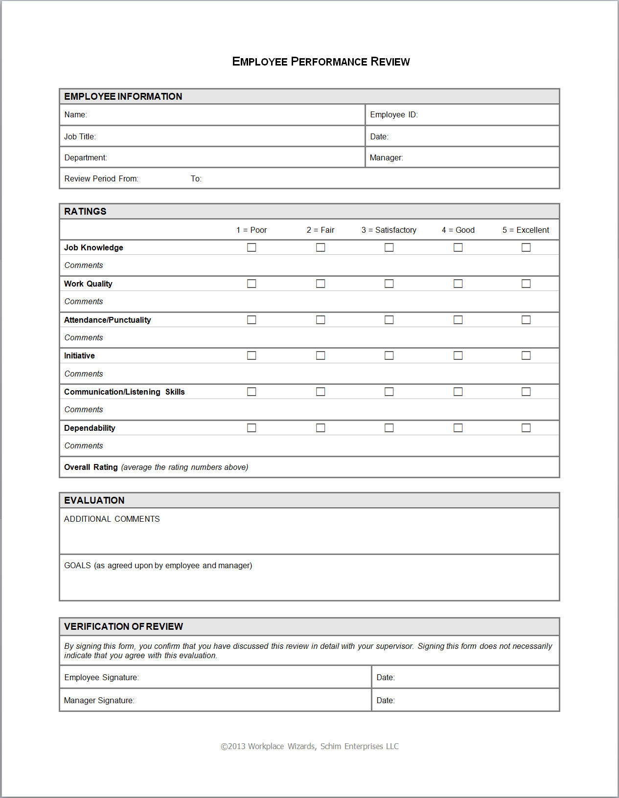 Employee Evaluation Form Free Download supply chain specialist ...