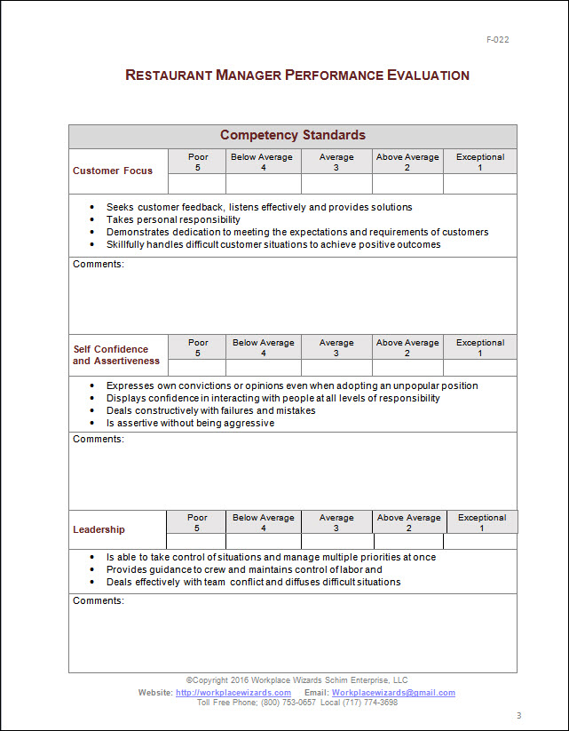 restaurant employee review form hgvi
