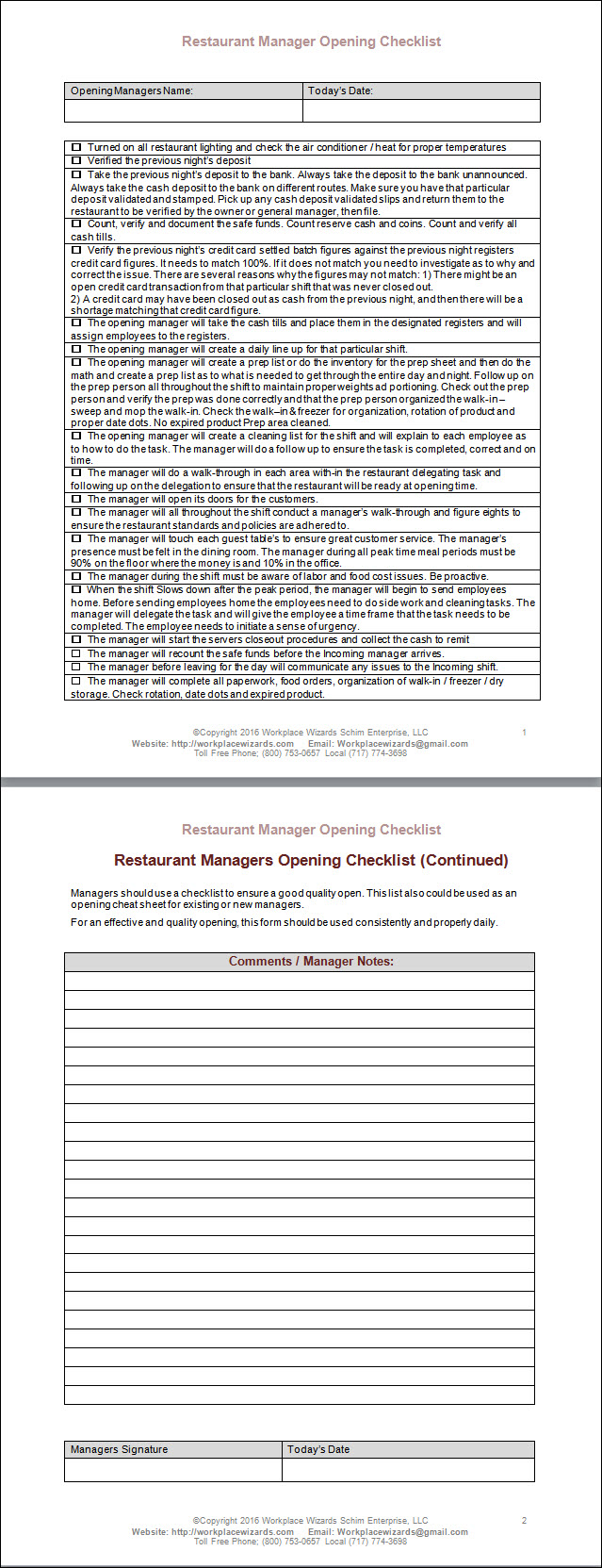 restaurant manager opening checklist