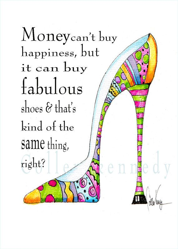 Work Quotes  Illustrated shoe art print with funny shoe quote
