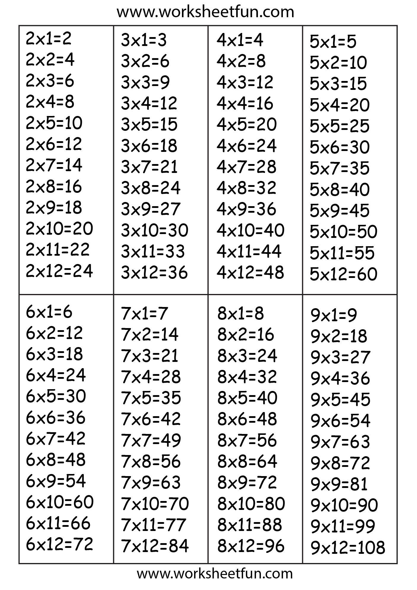Table 6 Et 7 Times Table Chart 2 3 4 5 6 7 8 And 9 Free