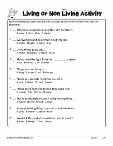 Living Non Living Multiple Choice Worksheets