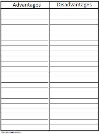 T-Chart with Lines Worksheets - printable t chart