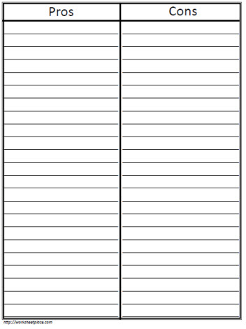 T-Chart Pros and Cons Worksheets - printable t chart