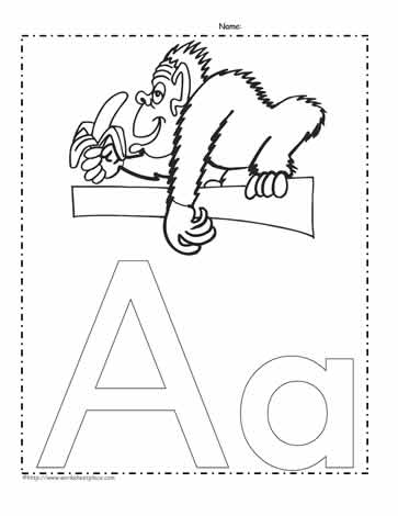 The Letter A Coloring Page Worksheets