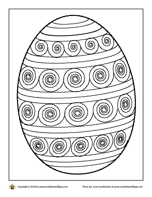 Spiral Easter Egg Coloring Page \u2013 Worksheet Village