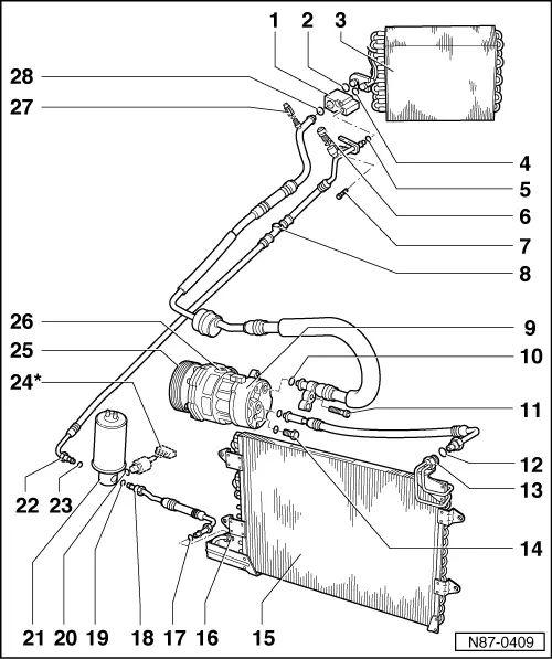 installation diagram for volkswagen golf iii air condition system