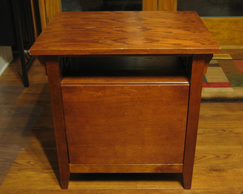 Cleaned up mission style file cabinet and end table