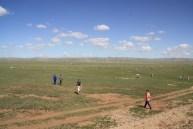 Naadam Horse Race in the background