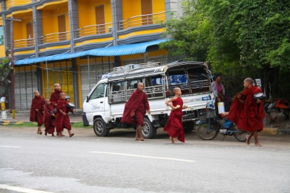 Monks on the road in Mandalay
