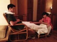 Enjoying the foot massage