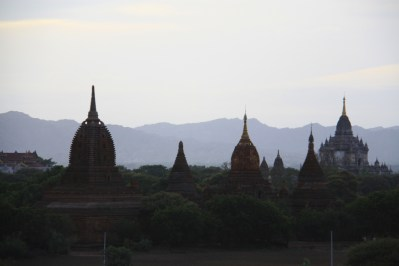 Silhouettes of temples.