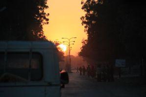 Sunset on drive to Jaisalmer