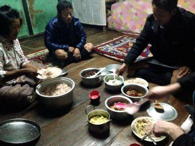 Dinner at Farmer House Bhutan