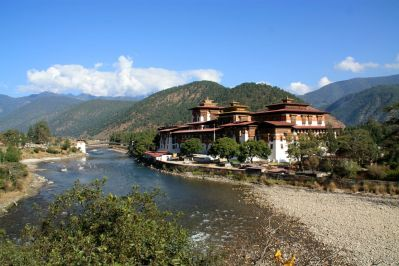 Punakha Dzong View with River