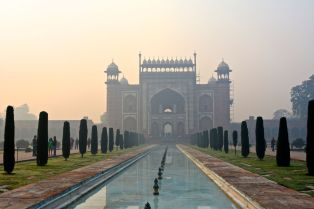 Taj Mahal Gate with Pond