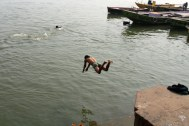 Belly flop dive into the Ganges