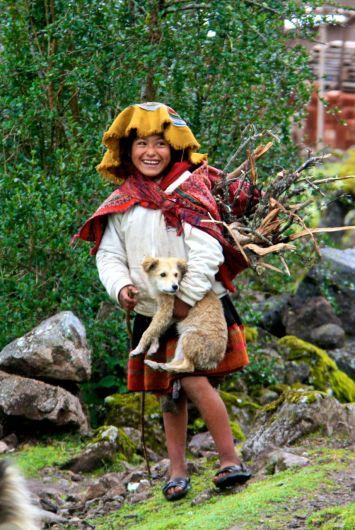 Lares Trek Day 2 Village girl with dog