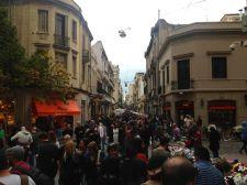 Buenos Aires San Telmo Crowds on Street