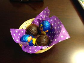 Cute basket of eggs for Easter!
