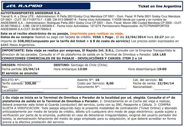 Mendoza to Santiago El Rapido Bus Ticket
