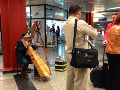 Harp player... a rare street musician