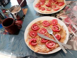 Typical breakfast omelet with tomatoes