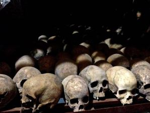 Rwanda Nyamata Church Graves Skulls on Shelf