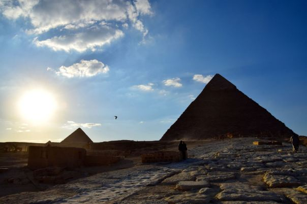 Sun setting at the pyramids.