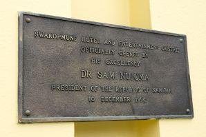 Swakopmund Hotel Plaque President