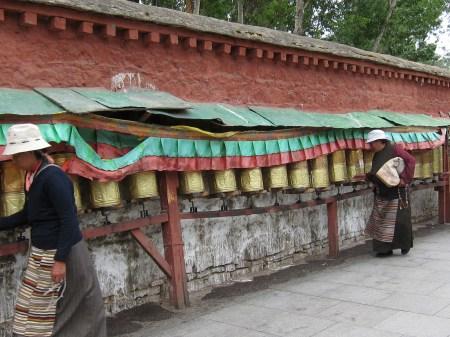 Spinning Tibetan Prayer Wheels