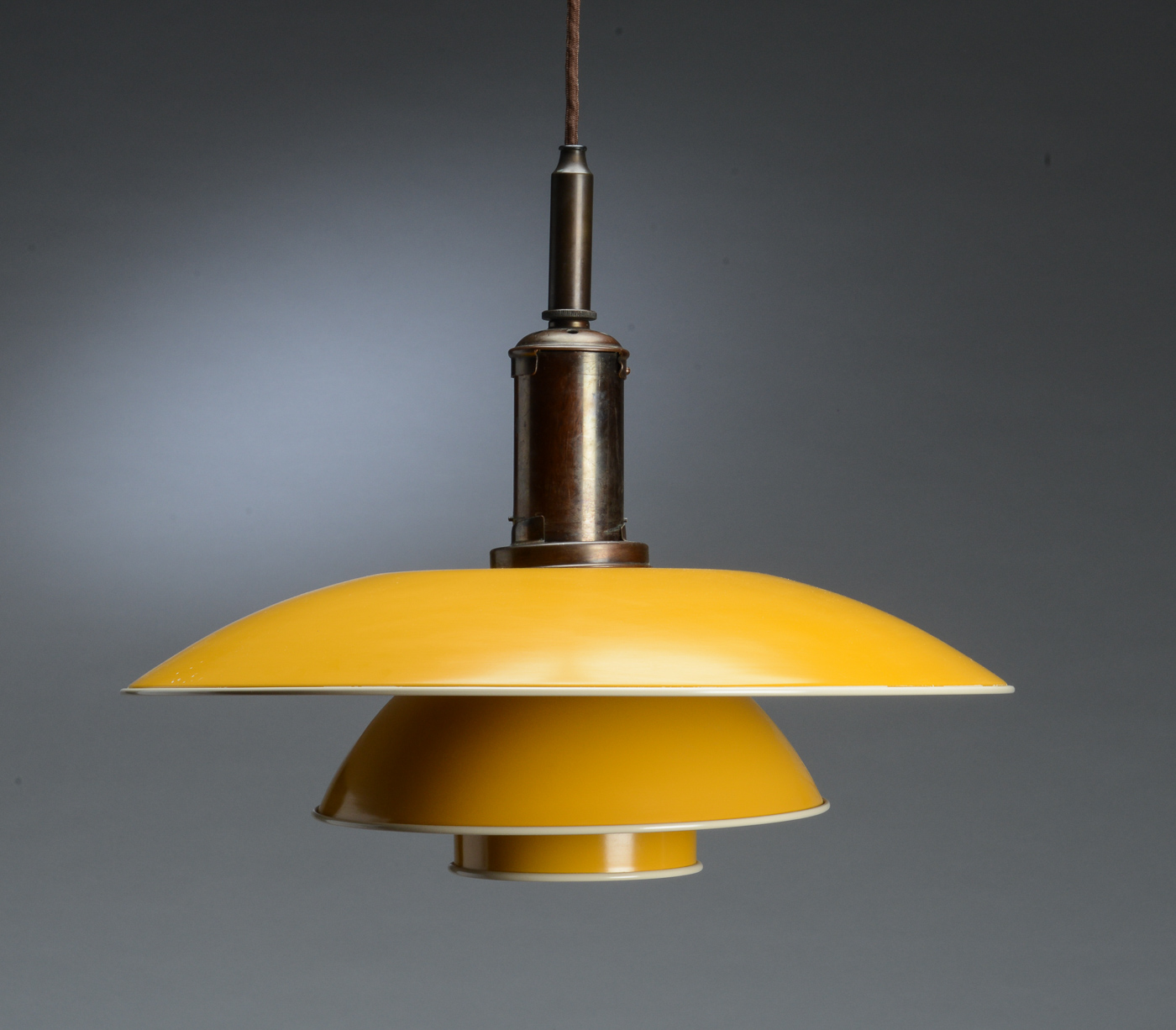 Poul Henningsen Lampe Poul Henningsen Ph 4½ 4 Pendant Lamp With Shade Yellow Painted Metal Mounted On Wire Shade Holder Marked Ph4200 Patented