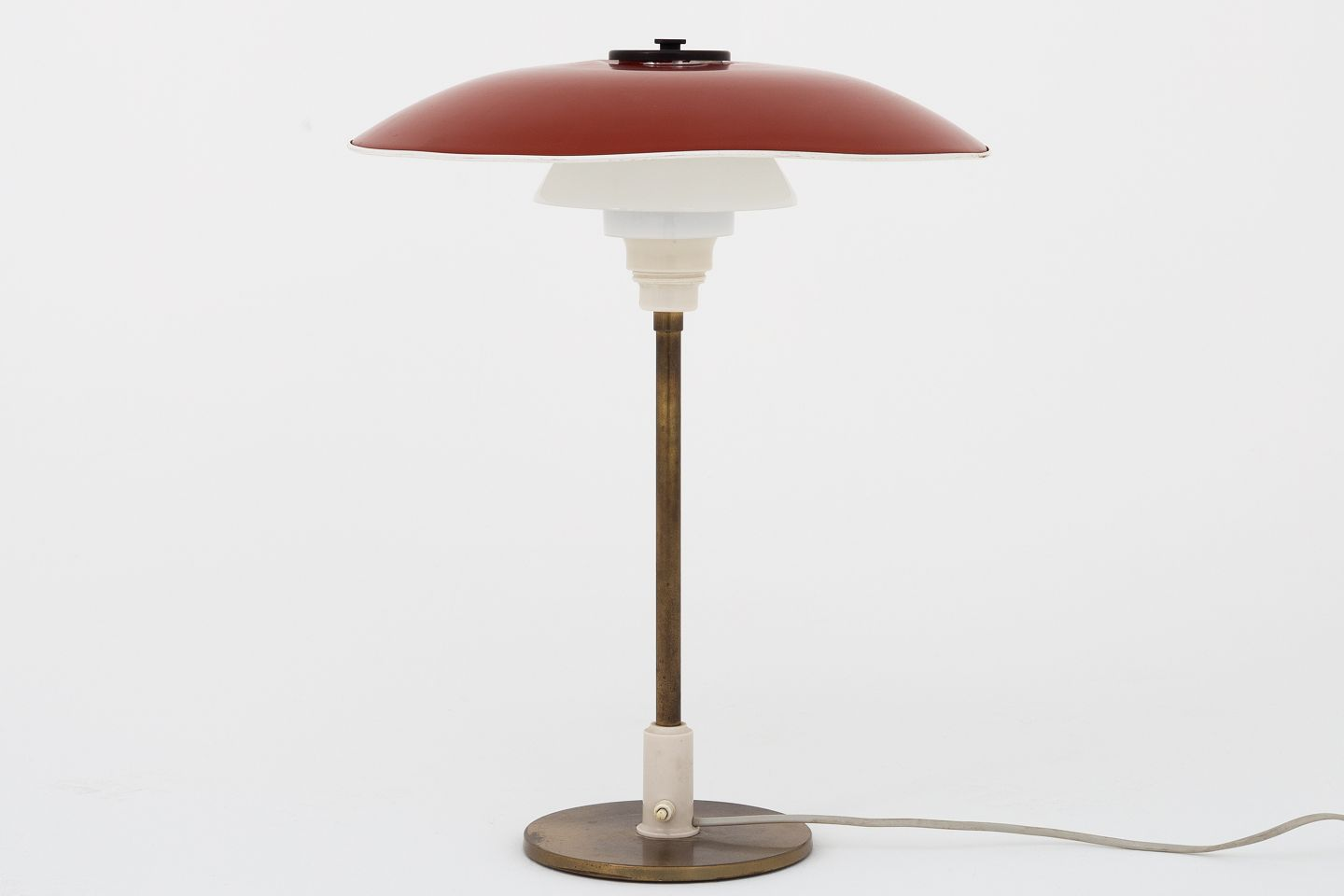 Poul Henningsen Poul Henningsen Louis Poulsen Ph 4 3 Table Lamp In Brass With Red Lacquered Metal Shade Glass Shades And White Bakelite 1 Pc In Stock Original