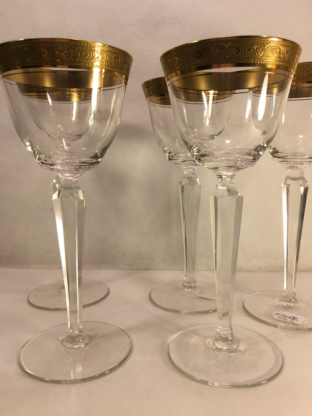 Antik Glas Med Sort Fod Worldantique Moser Glass With Beautifully Decorated Gold Edge