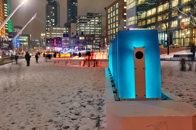 The domino effect Interactive Installation Brightening Up Place des