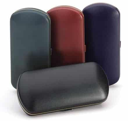 Hard Glasses Case with Push Button Opening and Gold Trim