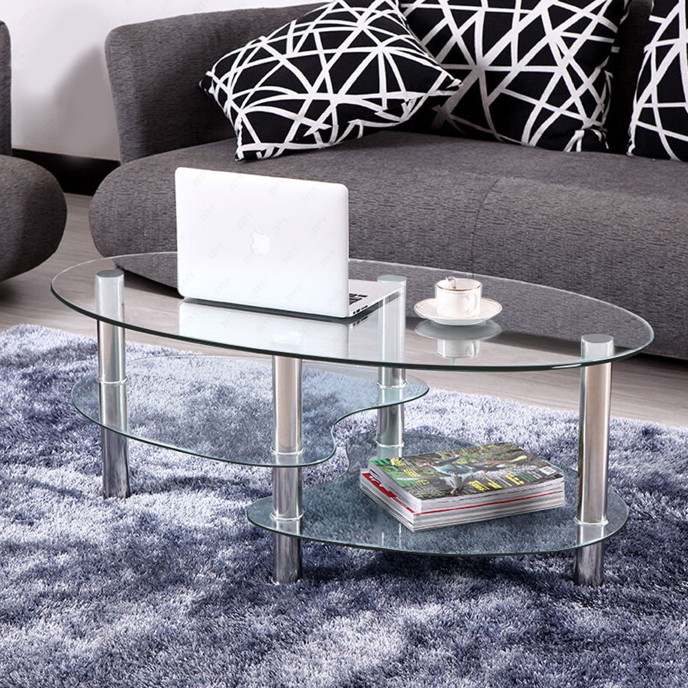 Couchtisch Oval Glas Tempered Clear/black Glass Oval Side Coffee Table Shelf