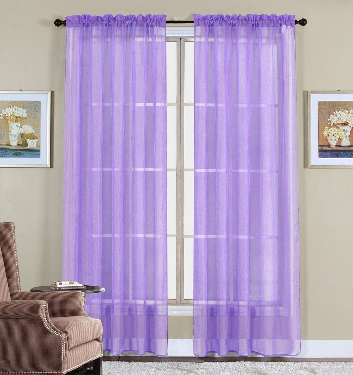 Lavender Sheer Curtains 63 Inch Long Sheer Window Curtains Lavender Purple World
