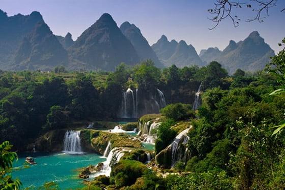Fall Mountaons In The Sun Wallpaper Ban Gioc Falls Top Waterfalls In The World World Top Top