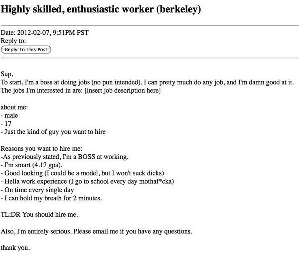 The 25 Funniest Job Resumes Of All Time WorldWideInterweb - fake resumes