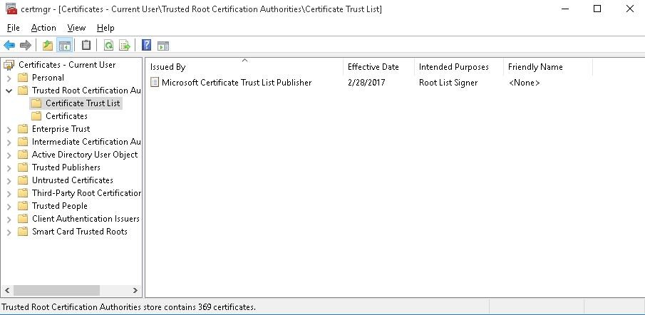 Updating List of Trusted Root Certificates in Windows 10 / 7