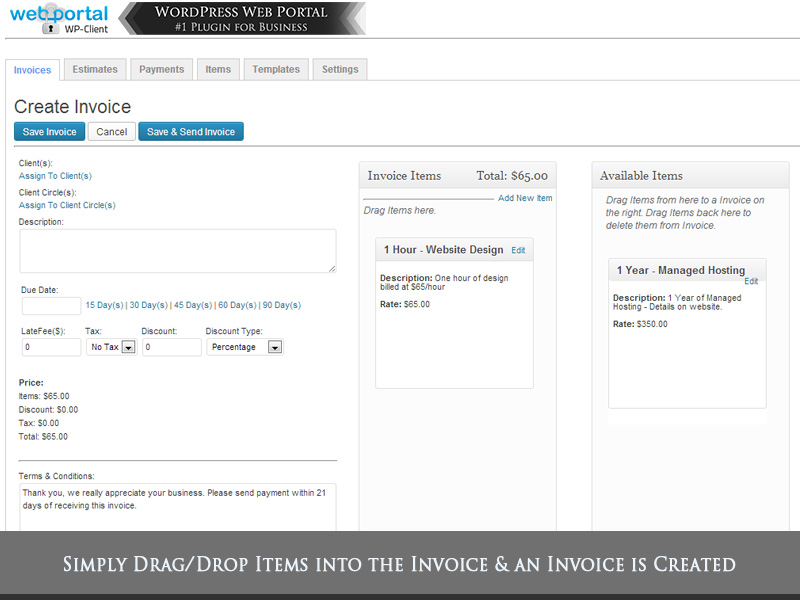 Demo Screenshot  Video Gallery WordPress Client Area  Invoicing - invoice creation