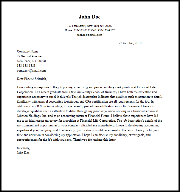 Professional Accounting Clerk Cover Letter Sample